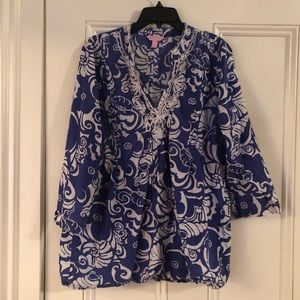 Lilly Pulitzer Blue and White Beaded Tunic Large